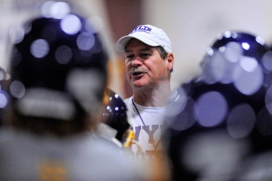 Wylie head football coach Hugh Sandifer opened his 33rd fall practice with the Bulldogs at the Doghouse on Monday, Aug. 13, 2018.