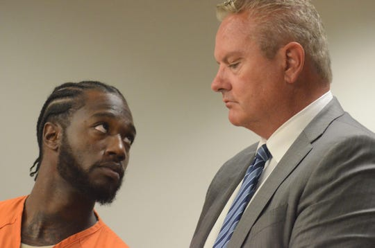 Robert Amerson looks to his attorney, Donald Sappanos during the sentencing hearing.