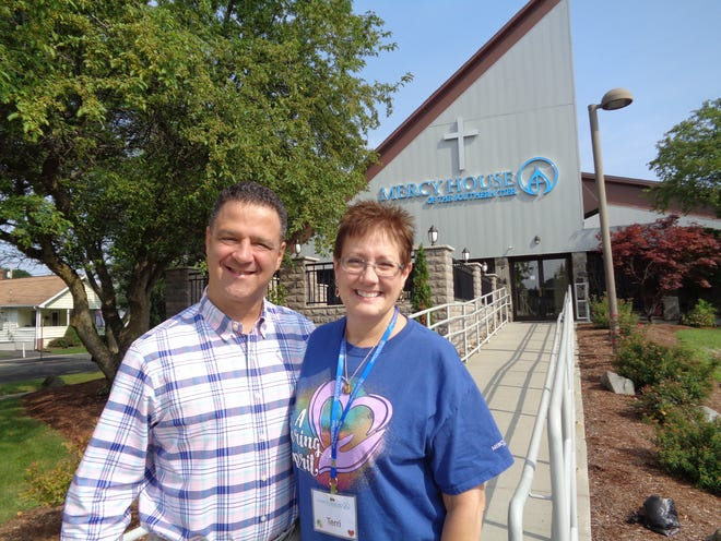 Mark Meier and Terri Blosser are two volunteers at Mercy House of the Southern Tier. They've formed a kind of unofficial team and love the volunteer work.