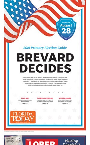The cover of FLORIDA TODAY's voting guide for the Aug. 28, 2018 primary elections