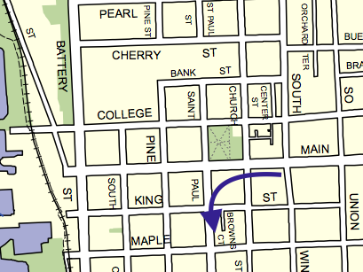 Student apartments for Champlain College are located at 164 St. Paul Street, between Maple and King streets in downtown Burlington.