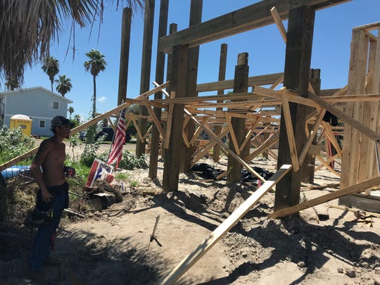 Nick Walpole, part of a framing crew building homes in Port Aransas as part of the post-Hurricane Harvey recovery.