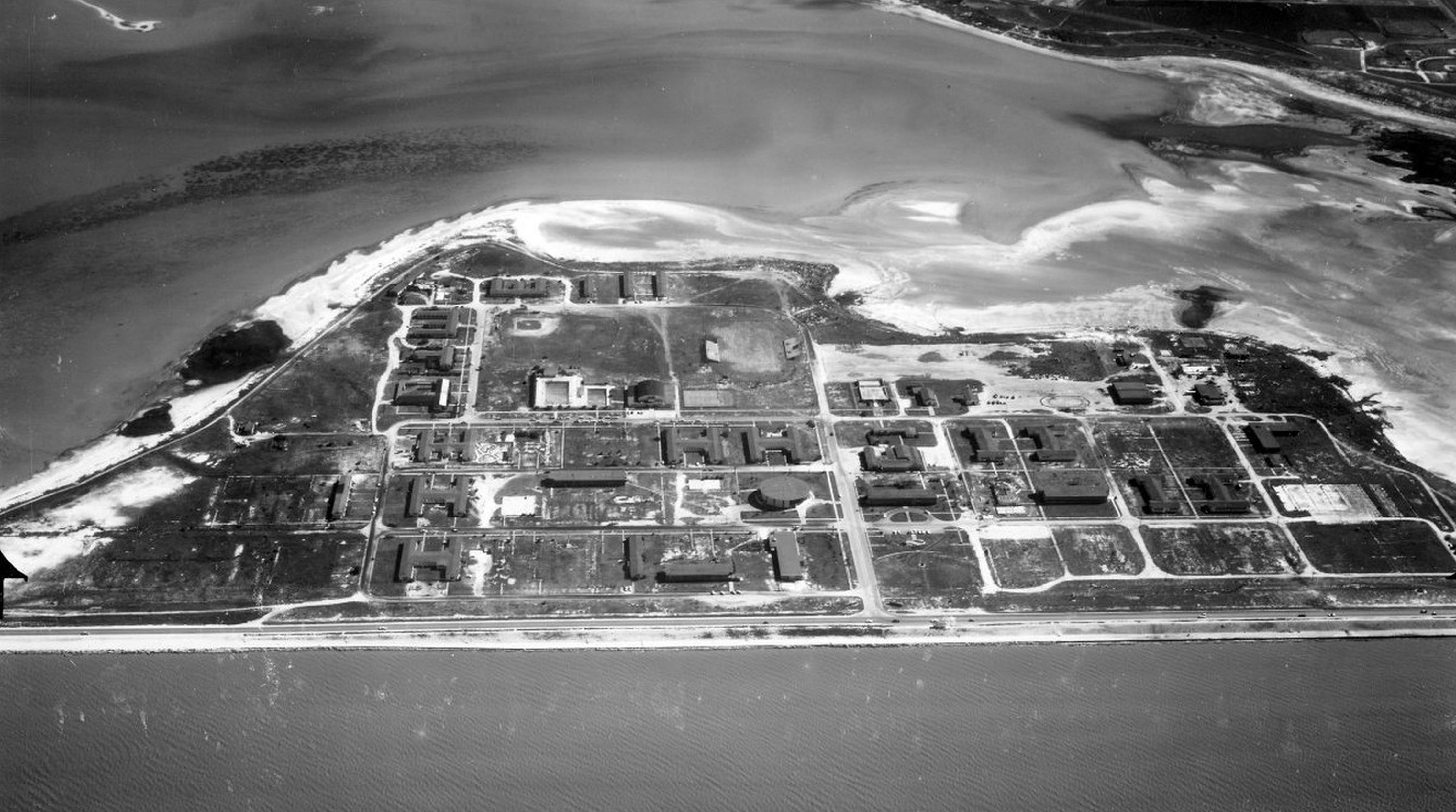 Aerial view of Ward Island in March 1965 when it was occupied by the University of Corpus Christi.
