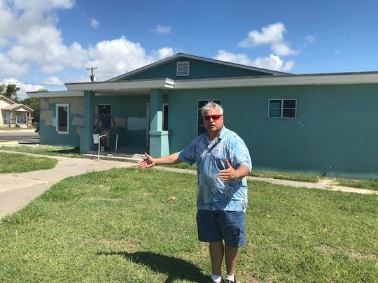 Matthew Otero near the warehouse he is rebuilding after it was gutted by Hurricane Harvey.