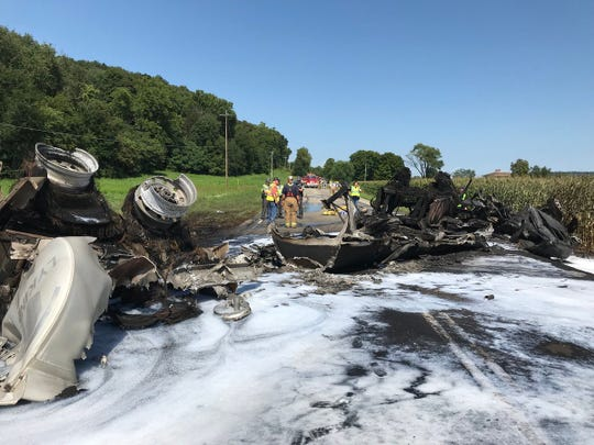 The Ohio Department of Transportation has opened U.S. 50 to one lane of traffic in the area of Paint Valley Local School District after a tanker caught fire Sunday.