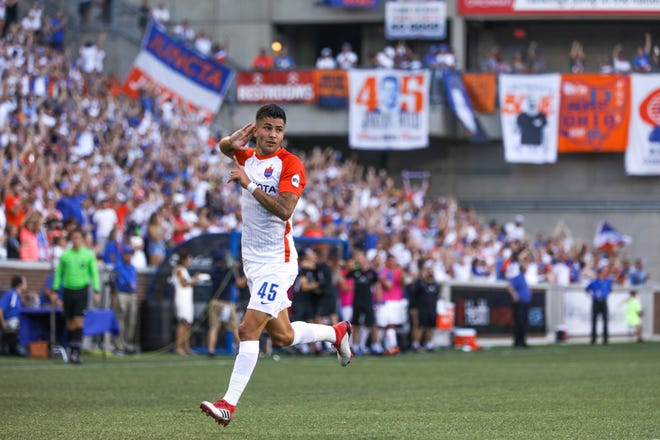 Emmanuel Ledesma celebrates after scoring FC Cincinnati's one and only goal of the game during the club's match vs. Penn FC at Nippert Stadium on Sunday.