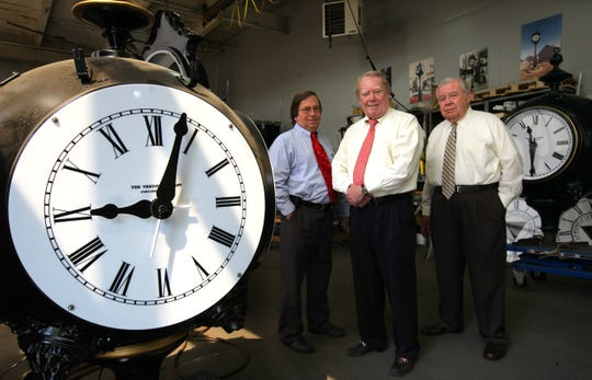 n 2011, the then owners of the Verdin Co,, from left: David Verdin, vice president; Jim Verdin, president; and the late Bob Verdin, CEO, who were cousins and among the fifth generation of the Verdin family to work at the company, which started in 1842. The bell and clock makers have expanded their business to include park benches and bicycle racks, among other things.