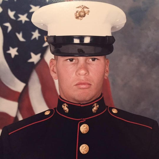 Tom Synan, in his official U.S. Marine Corps portrait. He graduated from boot camp in July 1986.