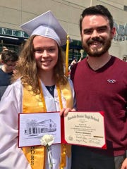 Meghan Laughman, left, and brother, Jake, celebrate her graduation from Fairfield High School June 9, 2018, at Cintas Center. She is a nursing student at  Xavier University this fall.