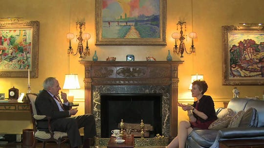 Peggy and David Rockefeller converse in their living room surrounded by an art collection.  Steven J. Zick, senior vice president and regional director of Christie's, gives a presentation about their collection on Feb. 10, 2019.