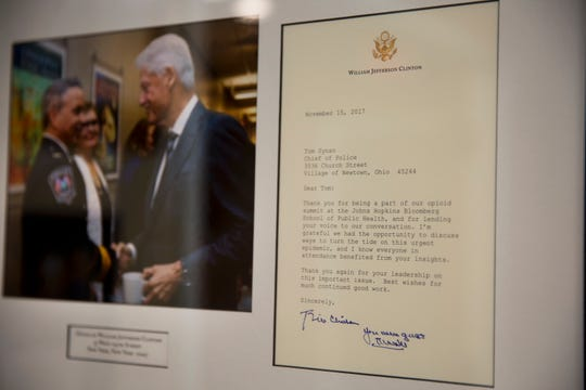 This photo and letter from former President Bill Clinton, hangs prominently in Newtown Police Chief Tom Synan's office. He was part of a panel discussing the opioid epidemic in July 2017 at Johns Hopkins University in Baltimore for the Clinton Foundation.