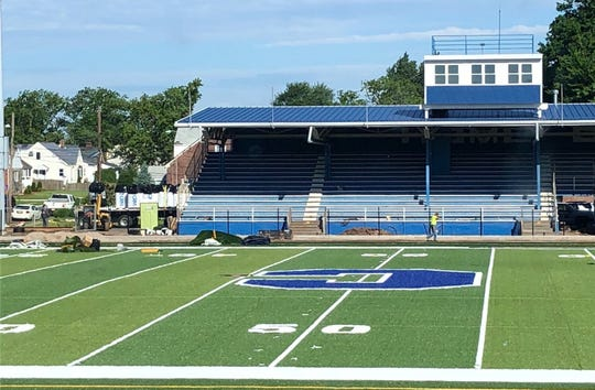 The grass field at Carteret's football stadium is being replaced with turf