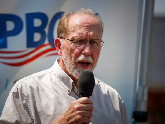 Dave Loebsack, Democratic congressman from Iowa's 2nd district, speaks at The Des Moines Register Political Soapbox, Aug. 13, 2018.