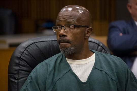 Darrell Siggers, who served 34 years for a murder he says he didn't commit, looks on during his bond hearing at the Frank Murphy Hall of Justice on Friday, August 10.