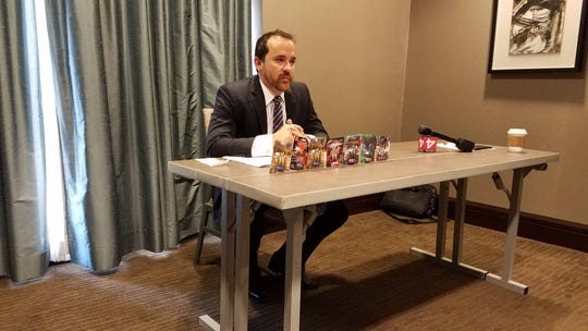 Attorney Robert Tauler addresses reporters in the Westin Book Cadillac hotel on August 13, 2018.