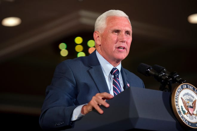 Vice President Mike Pence speaks during a GOP unity rally in Grand Rapids, Mich., Wednesday, Aug. 8, 2018.