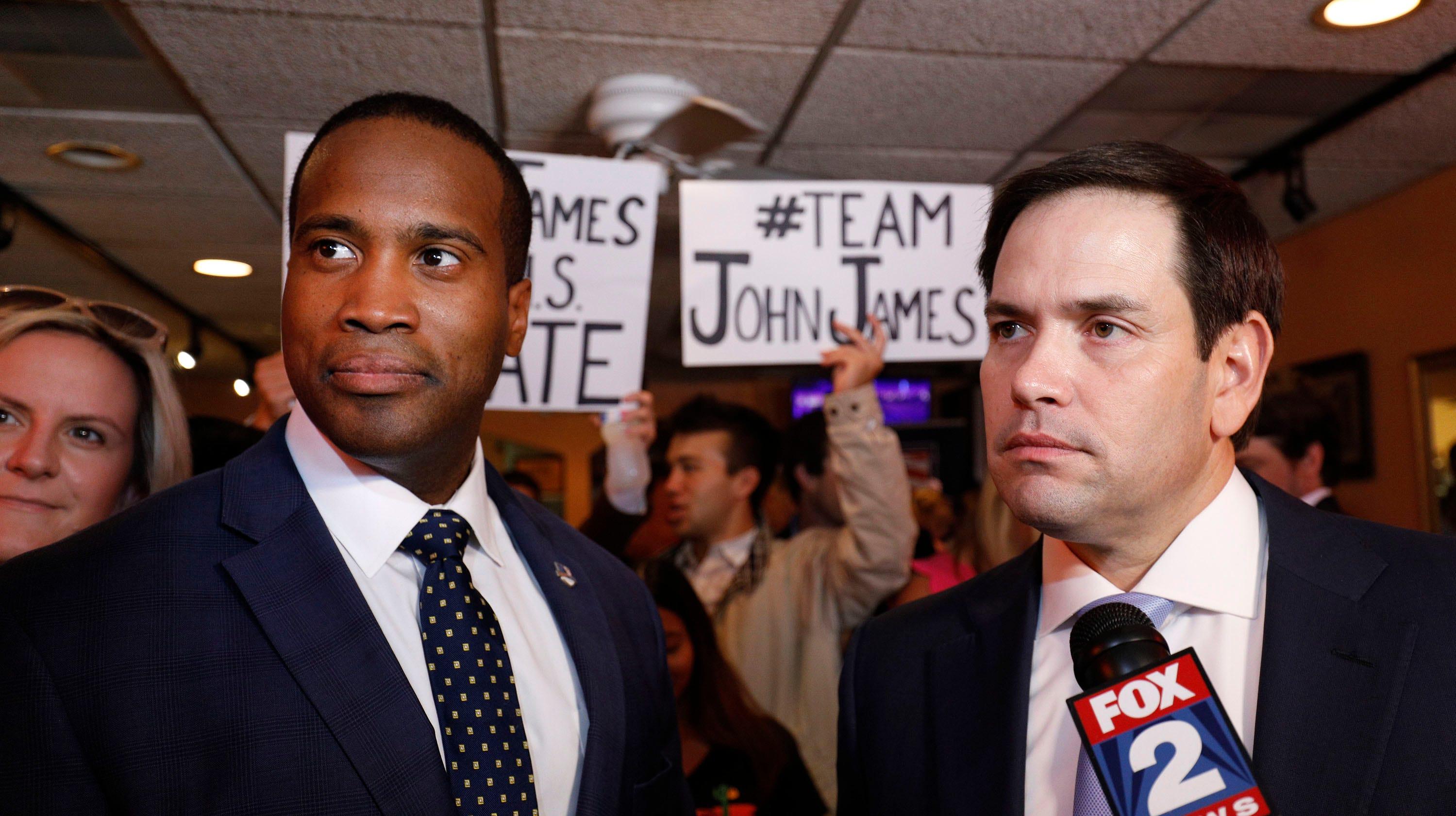 Rubio promotes James' Senate bid in Detroit visit