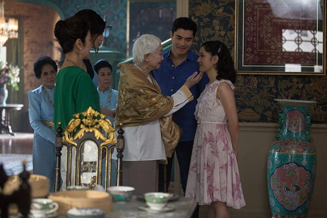 "Michelle Yeoh, Gemma Chan, Lisa Lu, Henry Golding and Constance Wu in ""Crazy Rich Asians."""