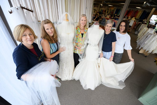 From left, Susan Seo, apparel manager, Natalie Trevaskis, store buyer, Patty Weir, store owner, Cindy Boese, class director, and Kay Soyka, apparel manager, at Haberman Fabrics in Clawson.