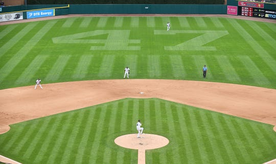 Jack Morris' No. 47 cut into the outfield grass seen in the fifth inning while Tigers' Matthew Boyd pitches.