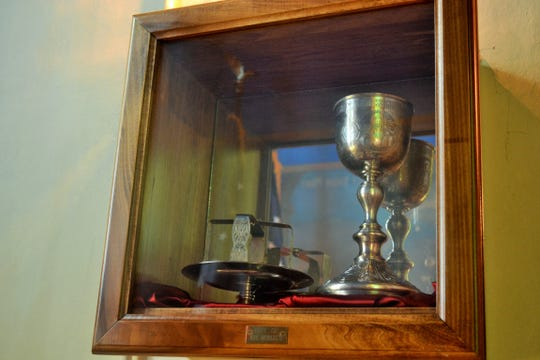 This chalice and liturgical set were gifts to the church from Tsar Nicholas II. They are still used at the church today.