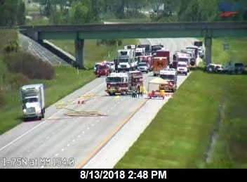 A refrigerated box truck carrying 1,300 gallons of synthetic styrene caused I-75 to be shut down for several hours Monday after a leak was discovered,
