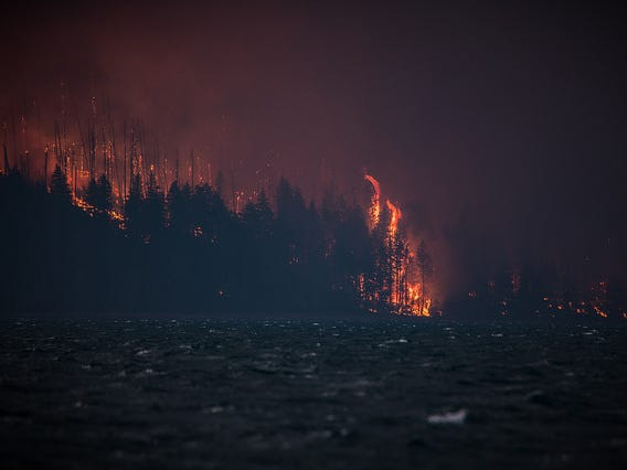 Multiple structures were lost Sunday in the Howe Ridge fire which has prompted evacuations and closure of Going-to-the-Sun Road on the west side of the park.