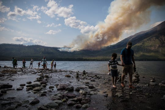The Howe Ridge Fire in Glacier National Park started in an area that burned in the 2003 Roberts Fire near Stanton Mountain. Several areas of the park are evacuated, including the Lake McDonald Lodge Complex, and roads and trails near the fire are closed.