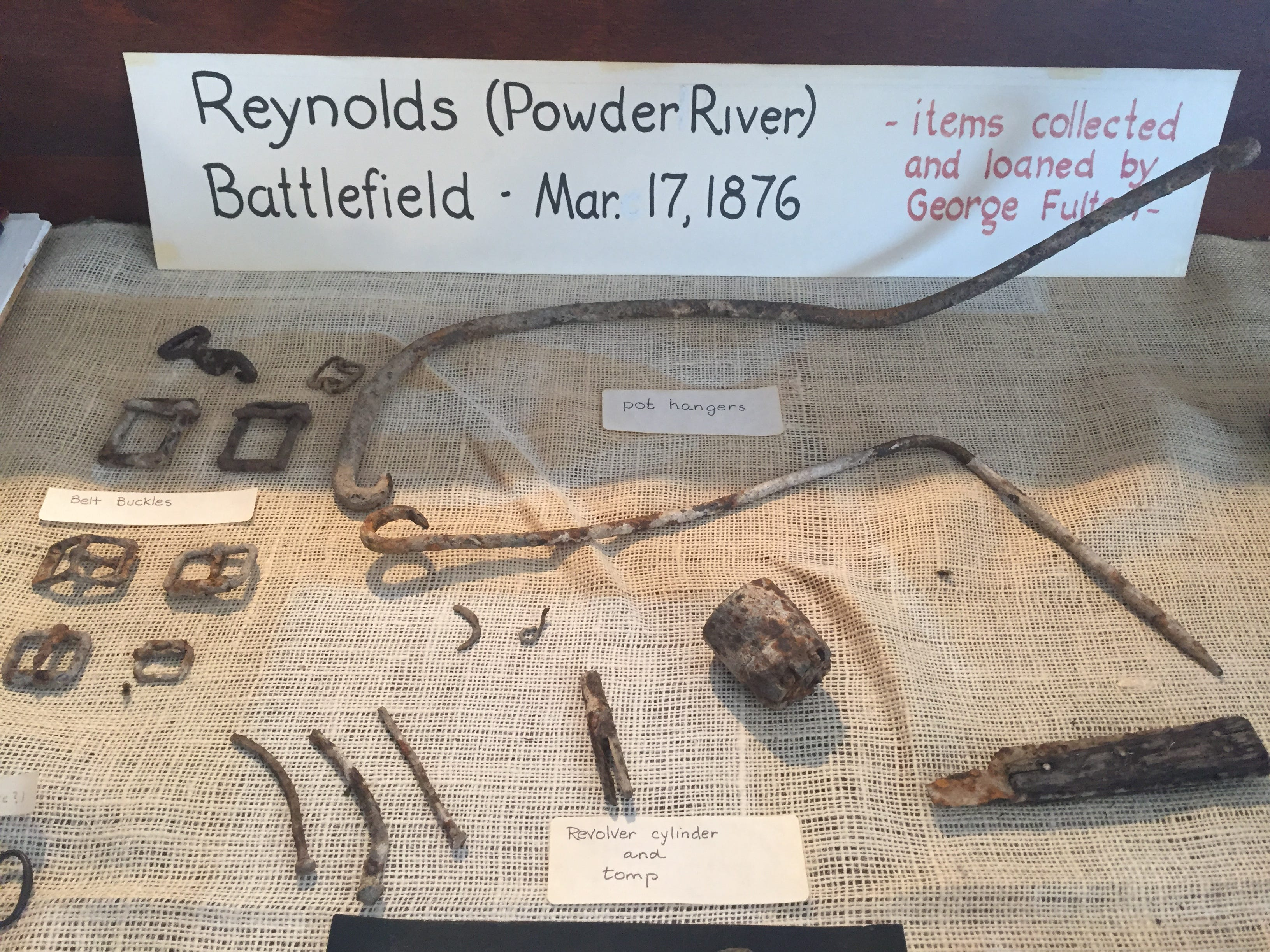Artifacts from the Reynolds Battlefield are on display at the Powder River Historical Museum in Broadus.