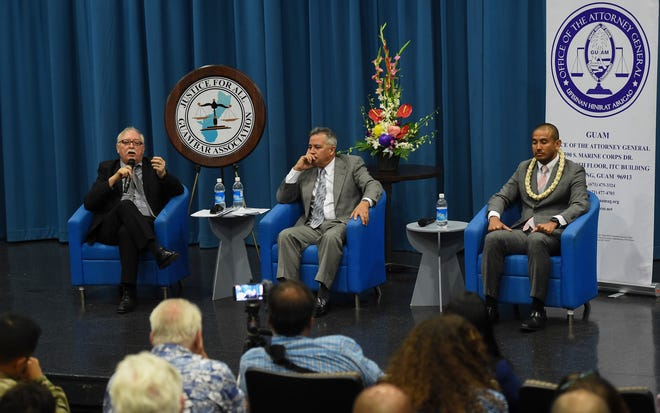 Attorney General candidates Gary W.F. Gumataotao, left, Douglas B. Moylan, center, and Leevin T. Camacho during the 2018 Attorney General Candidate Forum at the Guam Museum on Aug. 13, 2018.