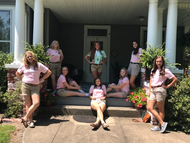 Contestants are pictured (Left to right): Peyton Wilson, Jacqueline Davis, Emily Greenwell, Railey Carter, 2018 Winner Jamee French, Shelby Pogue, Alexes Huff, Emma Sprague