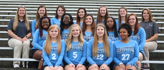 2018 Bravettes Varsity Volleyball Bottom row (L to R):  Hailey Arnett, Katy Scarberry, Emily Beaven, Faith Carrey Middle row (L to R):  Jonesha Sawyers, Nikylah Long, Emily Hibbs, Asia Pollard, Shaelee Wolfe  Top Row (L to R):  Coach Jennifer Watson, Hannah Turner, Breelyn Garrett, Lexi Smith, Emily Gentry, Lexi Lamb, Coach Olivia Watson.