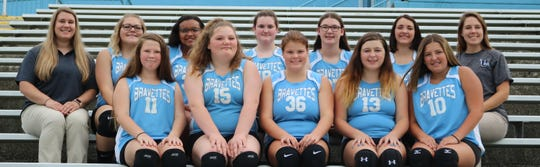 2018 Bravettes Freshmen Volleyball  Bottom row (L to R):  Jadelyn Perkins, Lexi Deam, Paige Buckman, Aly Wolfe, Hannah Greenwell Top row (L to R): Coach Jennifer Watson, Hailey Vazquez, Aaliyah Chapman, Emma Thomas, Lana Shirel, Maggy Hibbs, Coach Olivia Watson