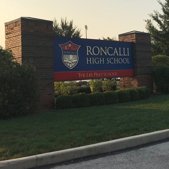The entrance to Roncalli High School on the south side of Indianapolis.