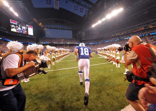 Peyton Manning took the field on Sept. 7, 2008, for the first regular season game at Lucas Oil Stadium.