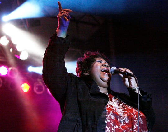 Aretha Franklin, seen here performing at Hoosier Park Racing and Casino in 2008, has died at age 76.