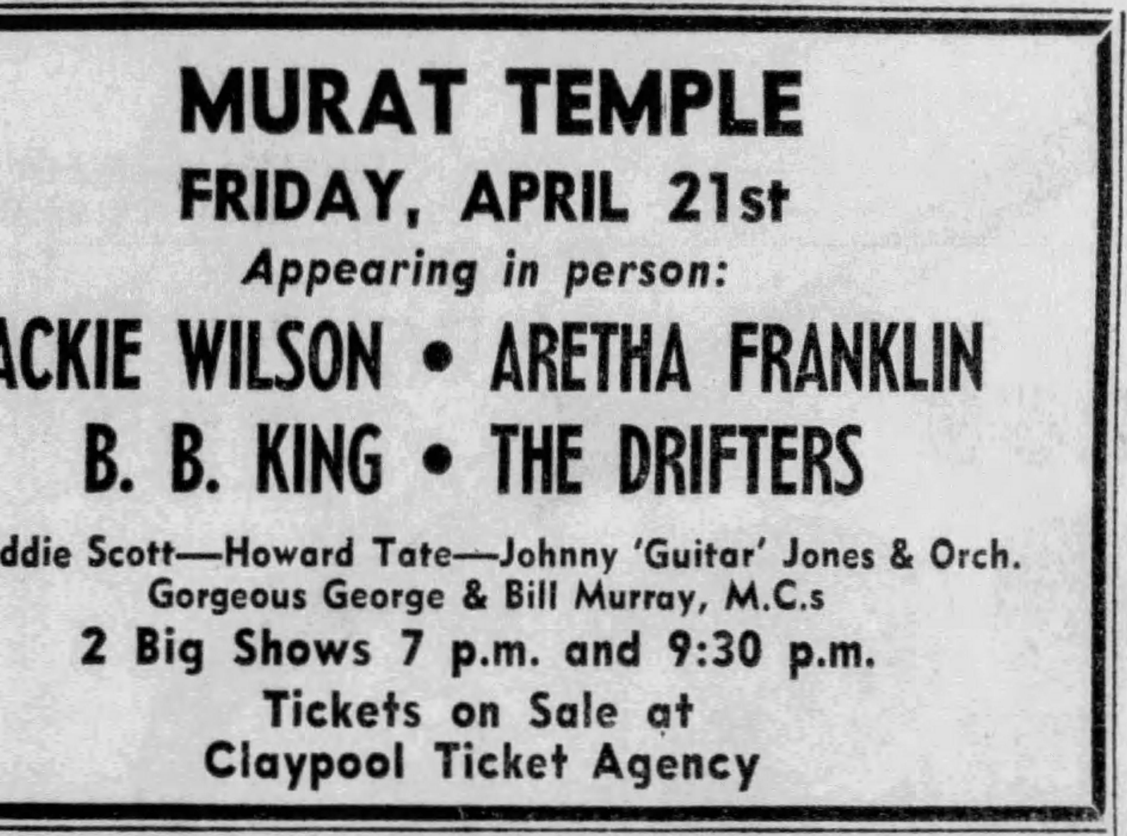 Aretha Franklin at the Murat Temple April 1967,