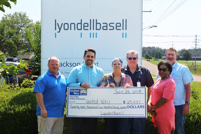 LyondellBasell's Jackson Plant presents a check to United Way after raising more than $29,000 for the nonprofit.