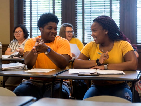 Jerry McCrary and Ashton Patton are incoming freshman at at the University of Tennessee and are signed up for a 3-week Math Camp through the university. The two discuss their work during class on Thursday, August 9, 2018.