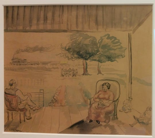 Joseph Delaney's 1940s watercolor is thought to represent a family scene from his East Tennessee childhood. It's believed to show the Rev. Samuel Delaney, his wife Delia and their sons Joseph and Beauford.