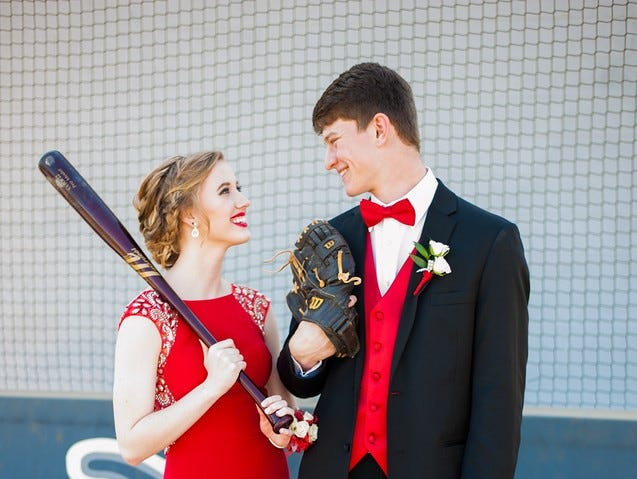 Clinton High School sophomore Hope Disney and Anderson County High School senior Michael Hackler posed together at the AC Baseball Field. They attended Anderson County High School's prom in 2016.