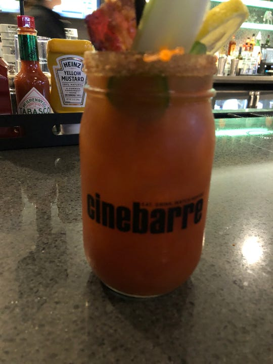 At Cinebarre, I opted for a spicy bloody mary, which came in a Mason jar with all of the fixings.