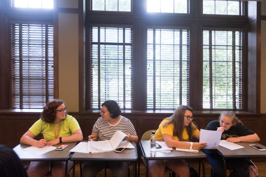 Incoming University of Tennessee freshman, from left, Carlyleigh Travis, Jennifer Martinez, Savannah Allen, and Breanna Jones attend a UT Math Camp class at Ayres Hall on Thursday, August 9, 2018.