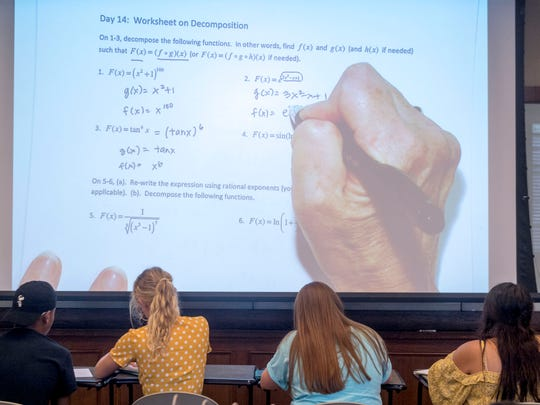 Incoming University of Tennessee students participate in a Math Camp class on Thursday, August 9, 2018. Math Camp is an optional 3-week summer program designed for students needing to meet prerequisites for math-intensive majors. Completion of the camp also serves as a placement exam that can cover two semesters worth of math classes.