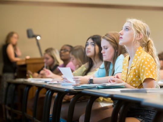 Zoe Edge attends Math Camp class at Ayres Hall on Thursday, August 9, 2018. Math Camp is an optional 3-week summer program designed for students needing to meet prerequisites for math-intensive majors. Completion of the camp also serves as a placement exam that can cover two semesters worth of math classes.