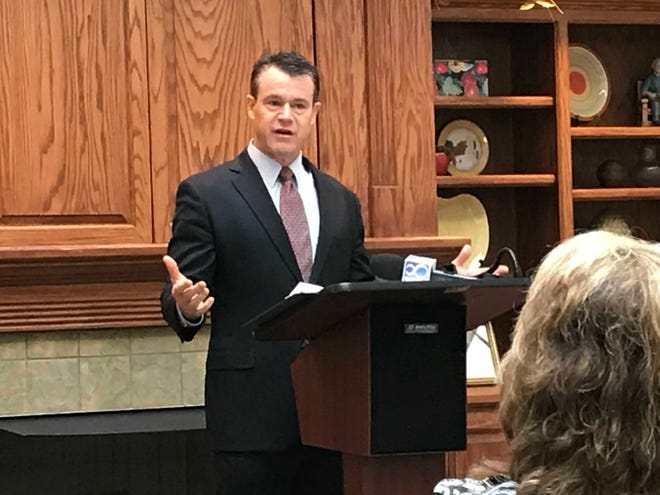 Sen. Todd Young, R-Indiana, discusses the Task Force on the Impact of the Affordable Housing Crisis Act on Monday, Aug. 13, at the Jefferson Centre Senior Apartments in Lafayette.