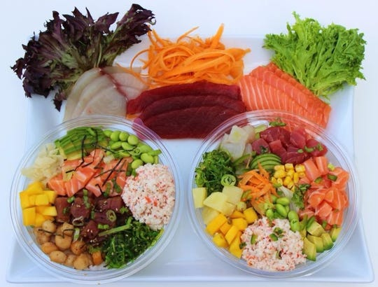 A promotional photograph shows some of the ingredients customers of Poké Fresh, a new Hawaiian cuisine-inspired restaurant opening in Genoa Township, can select to customize their poké bowl meals.
