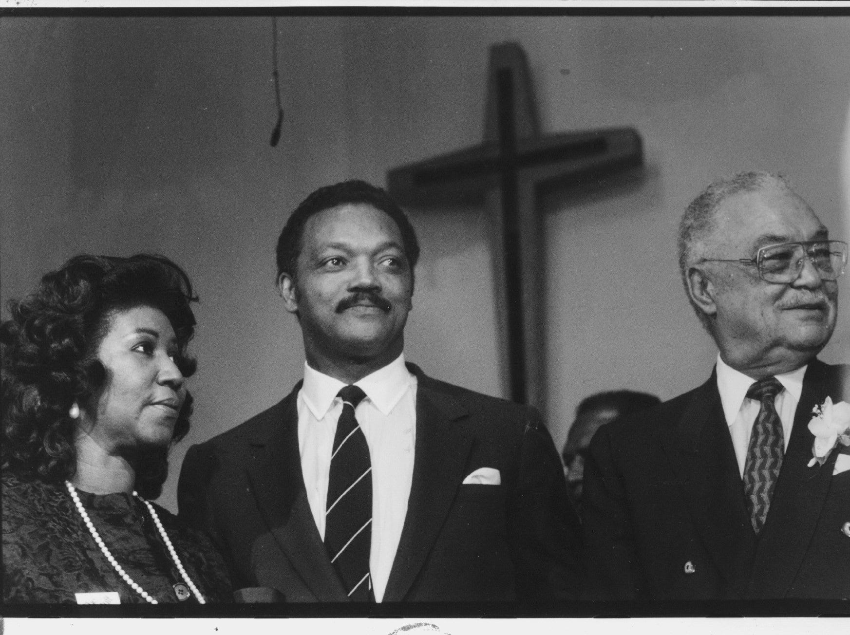 Aretha Franklin and Jesse Jackson join Detroit Mayor Coleman Young at a rally for the Mayor in New St. Paul Tabernacle Church of God in Christ. Photo taken Nov. 3, 1989.