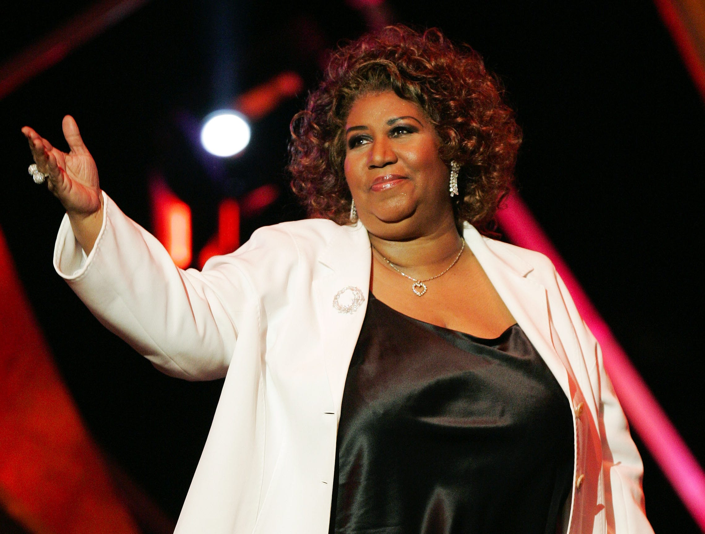 Aretha Franklin acknowledges the crowd at the 10th Annual Soul Train Lady of Soul Awards, Wednesday, Sept. 7, 2005, in Pasadena, Calif.