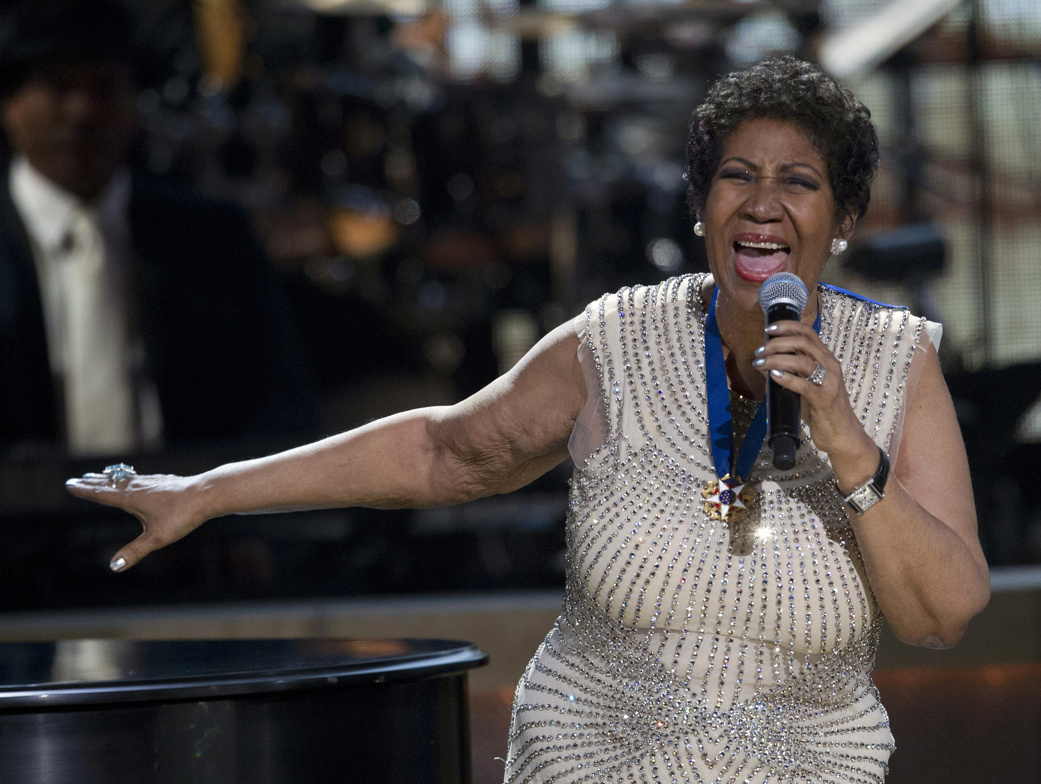BET honoree singer Aretha Franklin performs onstage at BET Honors 2014 at Warner Theatre in Washington on Feb. 8, 2014.